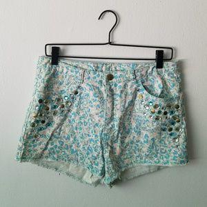 NWOT H&M Leopard Print Cut-off Shorts with Gems